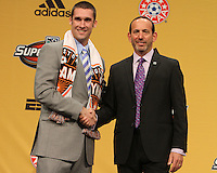 Will Bruin with commissioner Don Garber at the 2011 MLS Superdraft, in Baltimore, Maryland on January 13, 2010.