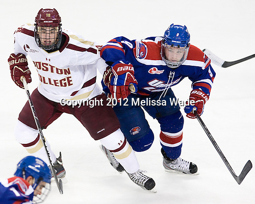 Michael Sit (BC - 18), Terrence Wallin (UML - 9) - The Boston College Eagles defeated the visiting University of Massachusetts Lowell River Hawks 6-3 on Sunday, October 28, 2012, at Kelley Rink in Conte Forum in Chestnut Hill, Massachusetts.