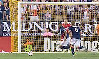 Foxborough, Massachusetts - September 10, 2016: The New England Revolution (blue and white) beat New York City FC (lt. blue) 3-1 in a Major League Soccer (MLS) match at Gillette Stadium.