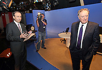 08/02/'11 Fianna Fail leader Micheál Martin pictured this evening at TV3, with Vincent Brown at Ballymount Dublin where they participated in the first televised leader's debate of Election 2011...Picture Colin Keegan, Collins, Dublin.