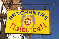 Handicrafts store sign in the 19th century mining town of Mineral de Pozos, Guanajuato, Mexico.