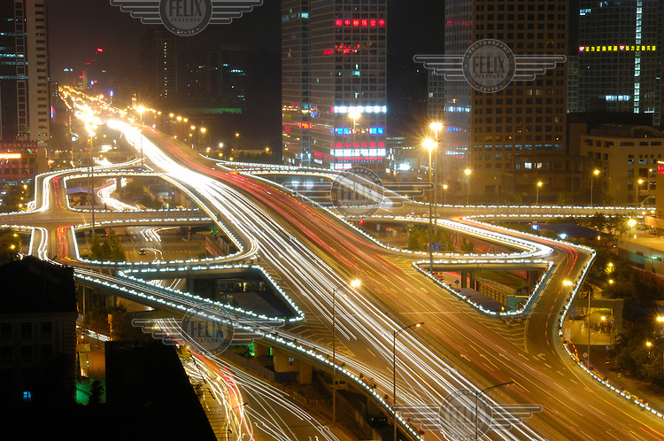 Third Ring Rd at the Chaoyang Jianguomenwai crossroads in the Central Business District.