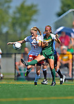 26 August 2012: University of Vermont Catamount midfielder Jess Herbst in action against Lauren Reilly of the Fairfield University Stags at Virtue Field in Burlington, Vermont. The Stags defeated the Lady Cats 1-0. Mandatory Credit: Ed Wolfstein Photo