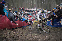Wout Van Aert (BEL/Crelan-Vastgoedservice) in yet another thrilling  1on1 against Mathieu Van der Poel (NED/Beobank-Corendon)<br /> <br /> UCI Cyclocross World Cup Namur/Belgium 2016