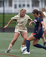 Boston College midfielder Gibby Wagner (10) works to clear ball. Pepperdine University defeated Boston College,1-0, at Soldiers Field Soccer Stadium, on September 29, 2012.