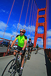Riding Bicycles over the Golden Gate Bridge, San Francisco, California