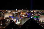 Nevada, NV, Las Vegas, city at night, nightscape, aerial, Las Vegas Strip from Mix Club at Mandalay Bay Hotel, Pyramid of the Luxor Hotel in the foreground, Photo nv254-18710..Copyright: Lee Foster, www.fostertravel.com, 510-549-2202,lee@fostertravel.com