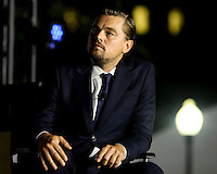 Leonardo DiCaprio participates  participates at a panel discussion on climate change with United States President Barack Obama (unseen) and Dr. Katharine Hayhoe (unseen),  as part of the White House South by South Lawn (SXSL) event about the importance of protecting the one planet we&rsquo;ve got for future generations, on the South Lawn of the White House, Washington DC, October 3, 2016. <br /> Credit: Aude Guerrucci / Pool via CNP /MediaPunch
