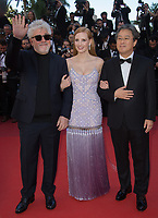Jessica Chastain, Pedro Almodovar &amp; Park Chan-wook at the premiere for &quot;Okja&quot; at the 70th Festival de Cannes, Cannes, France. 19 May  2017<br /> Picture: Paul Smith/Featureflash/SilverHub 0208 004 5359 sales@silverhubmedia.com