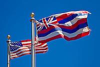 The American and Hawaiian flags at the entrance of Pu'ukohola Heiau National Historic Site's visitor center, Kawaihae, Kohala, Big Island.