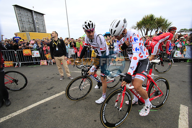 Tom Dumoulin (NED) Team Giant-Alpecin and Polka Dot Jersey wearer Jasper Stuyven (BEL) Trek Segafredo at sign on before the start of Stage 3 of the 2016 Tour de France, running 223.5km from Granville to Angers, France . 4th July 2016.<br /> Picture: Eoin Clarke | Newsfile<br /> <br /> <br /> All photos usage must carry mandatory copyright credit (&copy; Newsfile | Eoin Clarke)