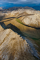 Aerial of the Davidson mountains of the Brooks range, Arctic National Wildlife Refuge, Alaska.