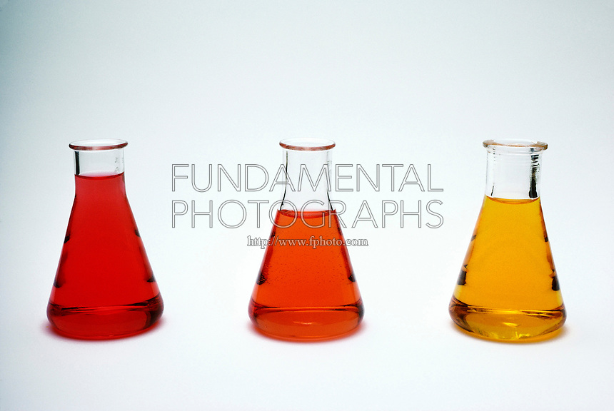 METHYL ORANGE AS CHEMICAL INDICATOR<br /> Methyl Orange Indicates Three pH Levels<br /> pH levels from left to right are 2 (magenta), 4 (red-orange), and 6 (orange-yellow).