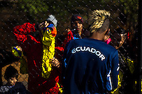 Fidel Martínez of Ecuador, gives autographs after a practice at the Montclair University, ahead of their friendly match against Argentina in New Jersey, Nov 14, 2013. VIEWpress/Eduardo Munoz Alvarez
