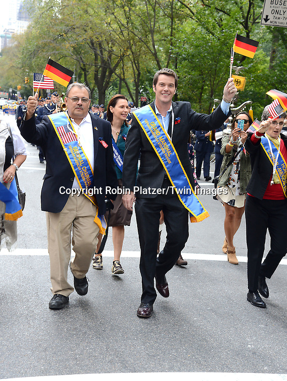 John Muller of WPIX marchs in the Steuben Parade on Fifth Avenue in New York City on September 20. 2014. <br /> <br /> photo by Robin Platzer/Twin Images<br />  <br /> phone number 212-935-0770