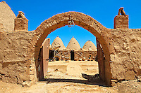 "Pictures of the beehive adobe buildings of Harran, south west Anatolia, Turkey.  Harran was a major ancient city in Upper Mesopotamia whose site is near the modern village of Altınbaşak, Turkey, 24 miles (44 kilometers) southeast of Şanlıurfa. The location is in a district of Şanlıurfa Province that is also named ""Harran"". Harran is famous for its traditional 'beehive' adobe houses, constructed entirely without wood. The design of these makes them cool inside. 11"