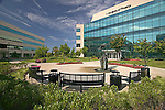 Exterior photo of office park with fountain