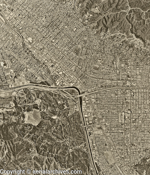 historical aerial photograph Burbank, California, 1994