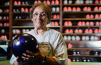 STAFF PHOTO SAMANTHA BAKER &yen; @NWASAMANTHA<br /><br />Pat Groce of Prairie Grove shows off her bowling ball Monday, June 30, 2014, after competing in the National Veterans Golden Age Games bowling competition at Fast Lanes in Lowell.