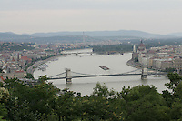 View of the river Danube with the Chain Bridge in Budapest, Hungary on June 10, 2009. ATTILA VOLGYI