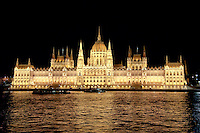 Testing of the new light system on the Hungarian Parliament in Budapest, Hungary on August 11, 2011. ATTILA VOLGYI