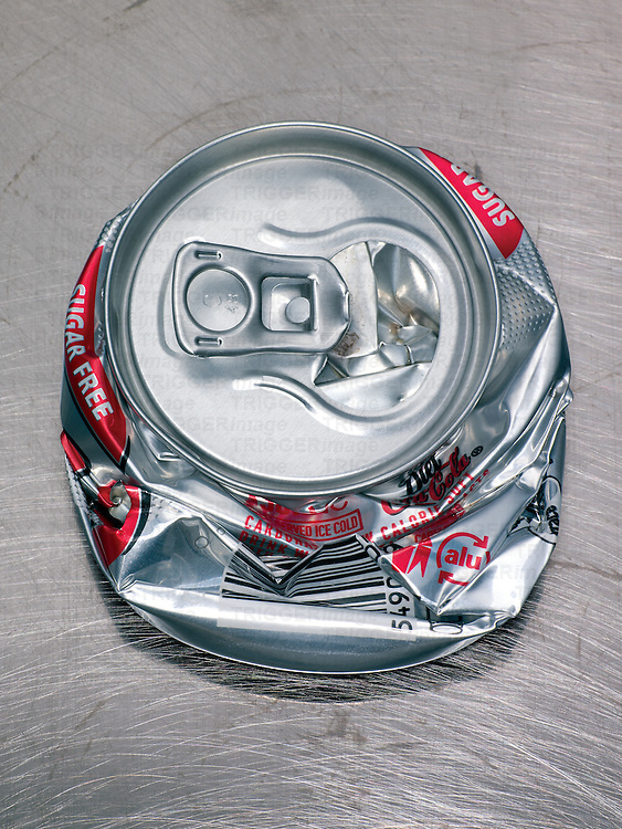 A crushed tin can
