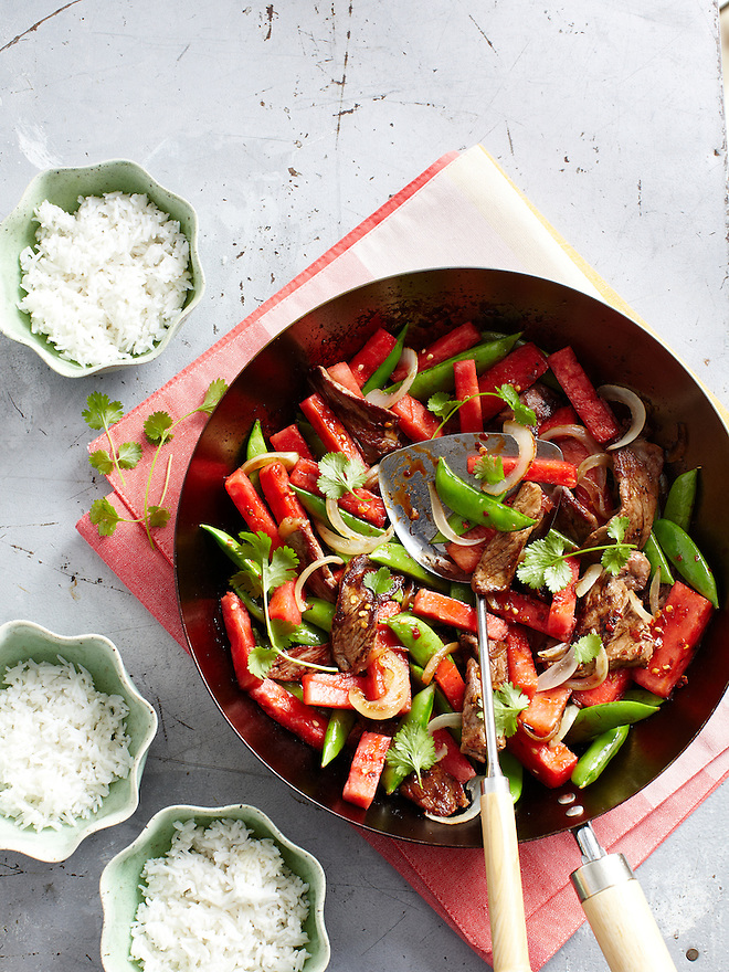 Beef and Watermelon Stir-Fry