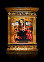 Gothic altarpiece of Madonna and Child with St Peter and Paul by Vicenzo Frediani, circa 1490, tempera and gold leaf on wood.  National Museum of Catalan Art, Barcelona, Spain, inv no: MNAC  64978. Against a black background.