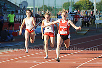 International athletics at Cardiff International stadium, Cardiff, South Wales - Tuesday 15th July 2014<br /> <br /> Hannah Brier(2) of Wales crosses the finishing line during the Women's 100m Final<br /> <br /> <br /> Photo by Jeff Thomas Photography