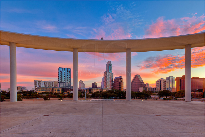 The Austin Skyline seen from the Long Center before sunrise.