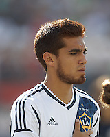 LA Galaxy midfielder Hector Jimenez (16). In a Major League Soccer (MLS) match, the New England Revolution (blue) defeated LA Galaxy (white), 5-0, at Gillette Stadium on June 2, 2013.
