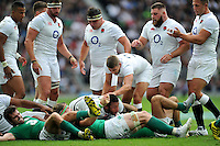 Courtney Lawes of England is congratulated after winning a penalty. QBE International match between England and Ireland on September 5, 2015 at Twickenham Stadium in London, England. Photo by: Patrick Khachfe / Onside Images