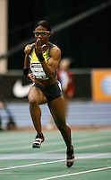 Angela Williams here winning her heat in the 60m dash with a time of 7.15sec. Angela came back to win the finals in a time of 7.11sec. at the AT&T USA Indoor Track & Field Championship on Sunday, February 24, 2008. Photo by Errol Anderson, The Sporting Image.