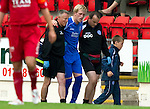 St Johnstone v Aberdeen...21.08.10 .Liam Craig limps off with a suspected hamstring injury.Picture by Graeme Hart..Copyright Perthshire Picture Agency.Tel: 01738 623350  Mobile: 07990 594431