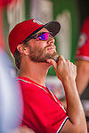 6 September 2014: Washington Nationals pitcher Matt Thornton sits in the dugout prior to a game against the Philadelphia Phillies at Nationals Park in Washington, DC. The Nationals fell to the Phillies 3-1 in the second game of their 3-game series. Mandatory Credit: Ed Wolfstein Photo *** RAW (NEF) Image File Available ***