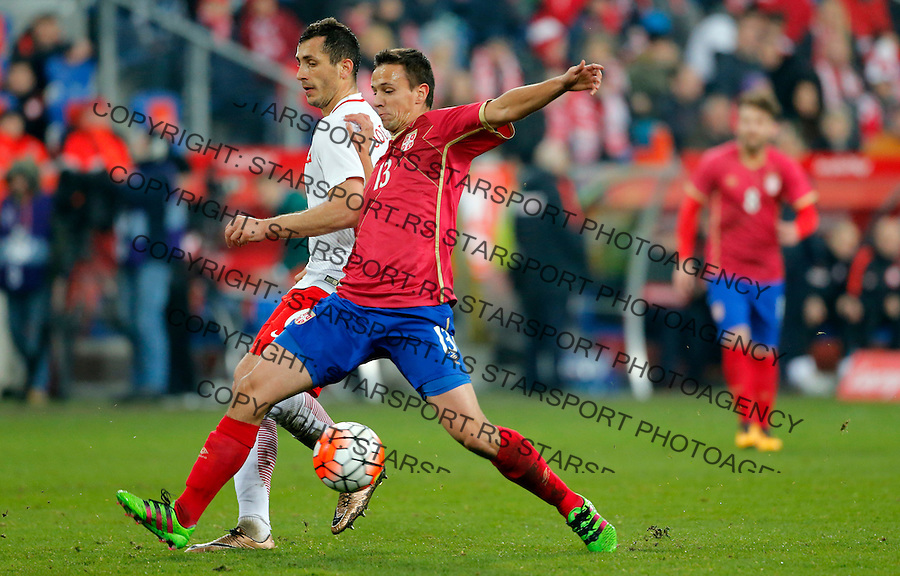 Nemanja Maksimovic Poljska - Srbija prijateljska, Poland - Serbia friendly football match, March 23. 2016. Poznan  (credit image & photo: Pedja Milosavljevic / STARSPORT)