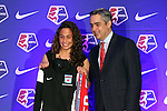 16 January 2015: Danielle Colaprico (Virginia), with NWSL Commissioner Jeff Plush, was selected with the ninth overall pick by the Chicago Red Stars. The National Women's Soccer League Draft was held at the Pennsylvania Convention Center in Philadelphia, Pennsylvania.