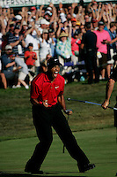 Golfer Tiger Woods celebrates after a successful putt on the 18th hole during day Four of the 108th U.S. Open at Torrey Pines Golf Course in La Jolla, California, U.S.