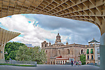 Anunciacion church as seen from Metropol Parasol building, Seville, Spain