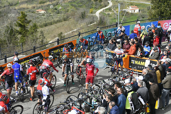 Sign on before the start of Stage 3 of the 2017 Tirreno Adriatico running 204km from Monterotondo Marittimo to Montalto di Castro, Italy. 10th March 2017.<br /> Picture: La Presse/Fabio Ferrari | Cyclefile<br /> <br /> <br /> All photos usage must carry mandatory copyright credit (&copy; Cyclefile | La Presse)