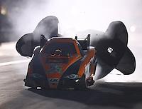Nov 12, 2016; Pomona, CA, USA; NHRA funny car driver Anthony Begley during qualifying for the Auto Club Finals at Auto Club Raceway at Pomona. Mandatory Credit: Mark J. Rebilas-USA TODAY Sports