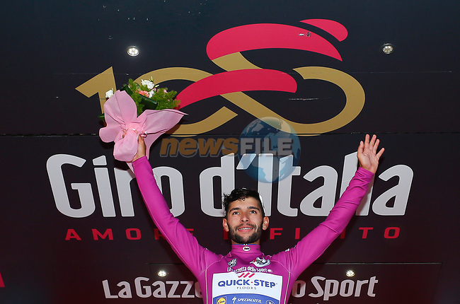 Fernando Gaviria (COL) Quick-Step Floors wears the points jersey at the end of Stage 5 of the 100th edition of the Giro d'Italia 2017, running 159km from Pedara to Messina, Sicily, Italy. 10th May 2017.<br /> Picture: LaPresse/Simone Spada | Cyclefile<br /> <br /> <br /> All photos usage must carry mandatory copyright credit (&copy; Cyclefile | LaPresse/Simone Spada)