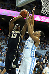 20 January 2016: Wake Forest's Bryant Crawford (13) and North Carolina's Kennedy Meeks (3). The University of North Carolina Tar Heels hosted the Wake Forest University Demon Deacons at the Dean E. Smith Center in Chapel Hill, North Carolina in a 2015-16 NCAA Division I Men's Basketball game. UNC won the game 83-68.