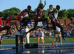 13 JUNE 2008:  Competitors in the Men's 3,000 meter steeple chase clear the first water jump at the NCAA Division 1 Men's and Women's Track &amp; Field Championships in Des Moines, Iowa.  David Peterson