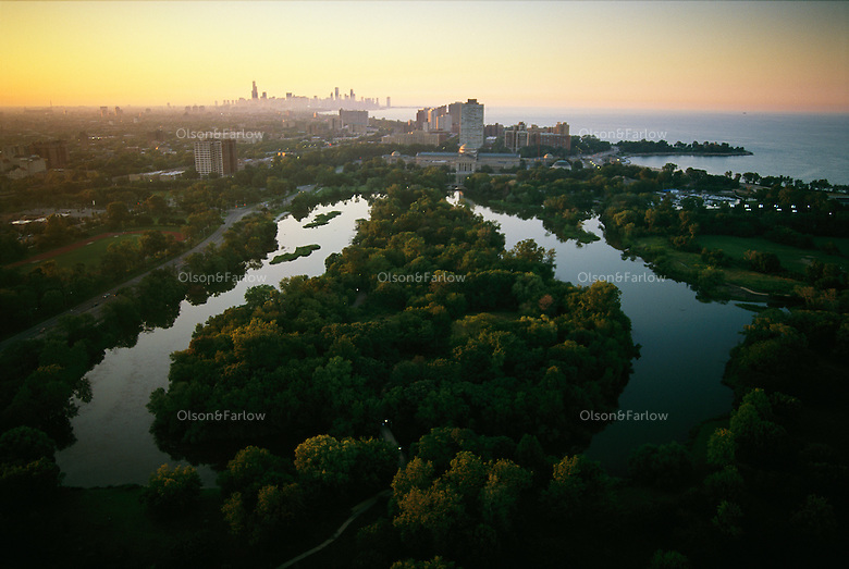 Lagoon in Jackson Park looking north toward downtown Chicago. Olmsted planned this park as part of the World's Columbian Exposition in 1893.