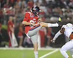 Texas blocks a punt by Ole Miss kicker Jim Broadway (82) at Vaught-Hemingway Stadium in Oxford, Miss. on Saturday, September 15, 2012. Texas won 66-21. Ole Miss falls to 2-1.