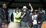 The Rev. Lyda Pierce, a United Methodist pastor, speaks at a February 14 2015 rally in Pasco, Washington, demanding justice for the killing of Antonio Zambrano Montes by three Pasco police officers on February 10. About 700 people participated in the rally and march.