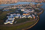 NEW YORK, NY -- AUGUST 13, 2015:  Early morning light illuminates the Rikers Island Correctional Facility, New York City's largest jail operated by the NYC Department of Correction, on Thursday, August 13, 2015 in New York City. PHOTOGRAPH BY MICHAEL NAGLE