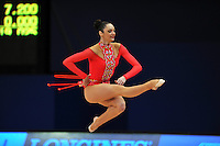September 7, 2009; Mie, Japan;  Anna Bessonova of Ukraine cossack jumps at 2009 World Championships Mie during qualifying round. Anna was the 2007 AA world champion at Patras, Greece in the individual All Around. Photo by Tom Theobald.