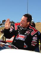 Jul. 31, 2011; Sonoma, CA, USA; NHRA pro stock driver Greg Anderson celebrates after winning the Fram Autolite Nationals at Infineon Raceway. Mandatory Credit: Mark J. Rebilas-